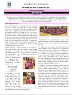 2016 Pink Shirt Day Newsletter Thumbnail